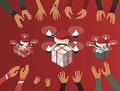 Flight drones with christmas hat delivering gifts and presents to people with raised hands. Isometric 3d