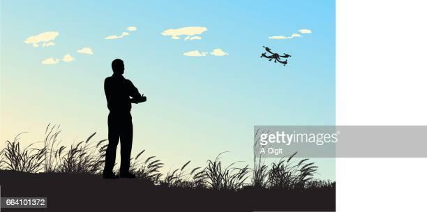 ilustraciones, imágenes clip art, dibujos animados e iconos de stock de manía de vuelo - drone