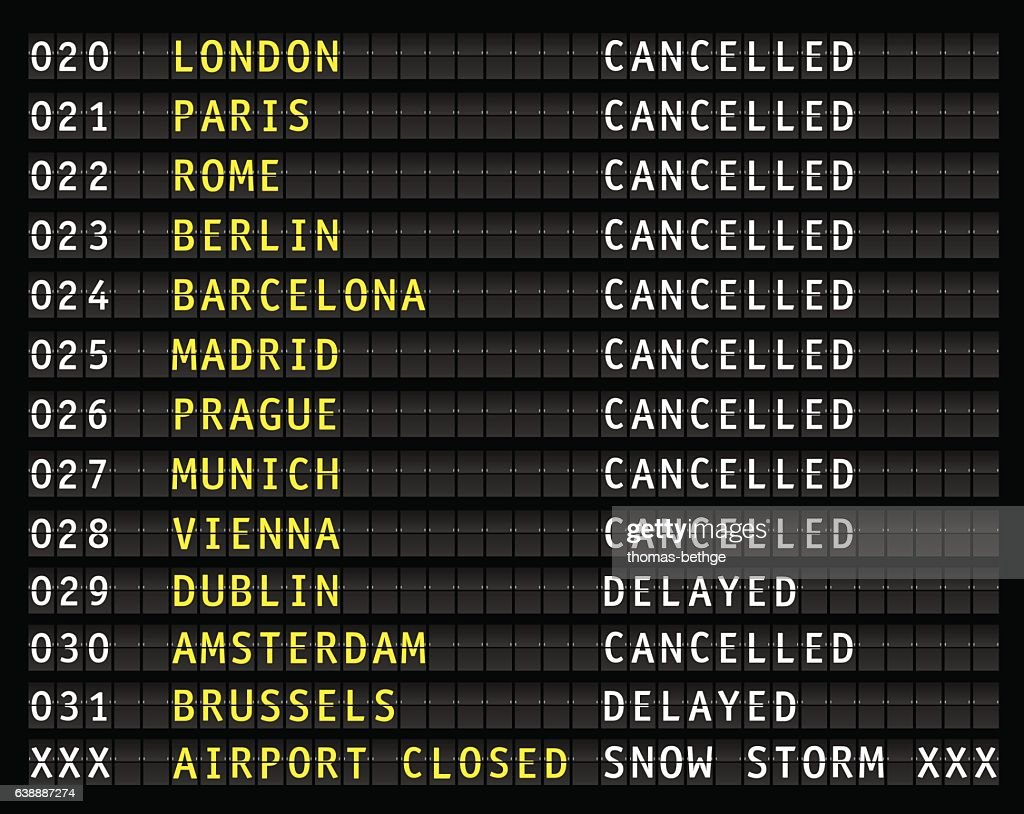 Flight information display during a blizzard