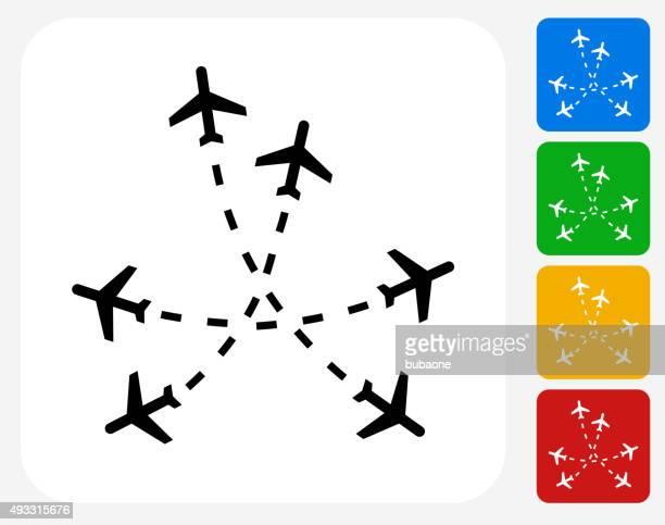 Flight Routes Icon Flat Graphic Design