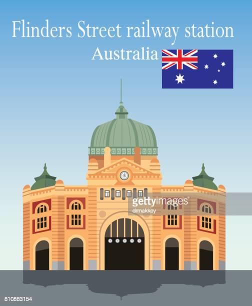 flinders  street railway station - melbourne stock illustrations