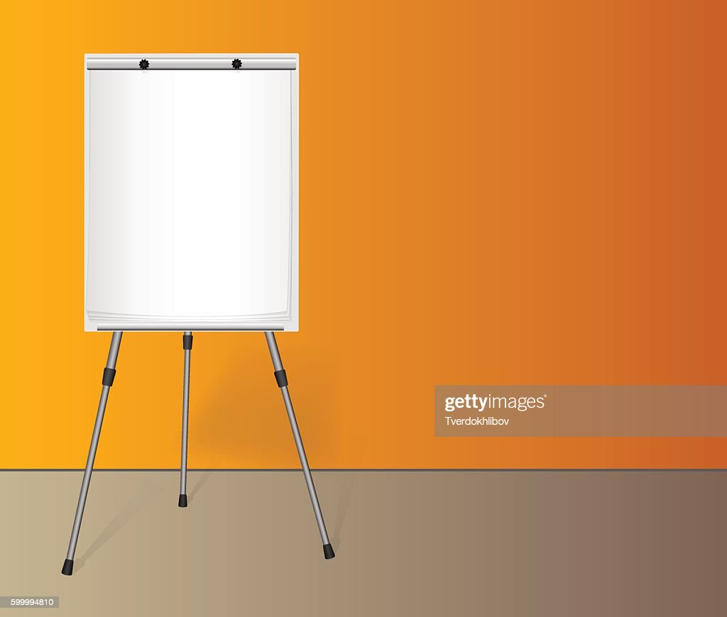 Flip chart with a blank sheet of paper near colored