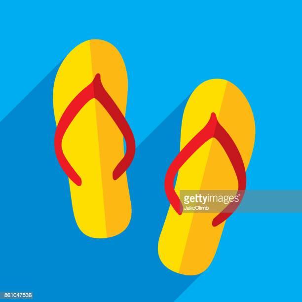 ilustraciones, imágenes clip art, dibujos animados e iconos de stock de flip flop icono plana - tanga