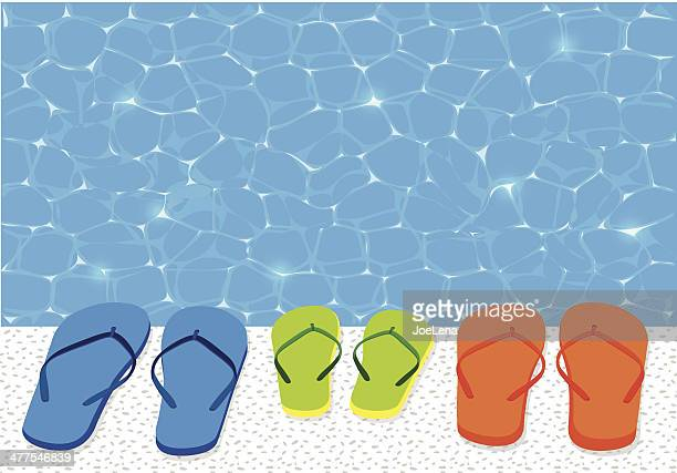 flip flops and swimming pool - sandal stock illustrations, clip art, cartoons, & icons