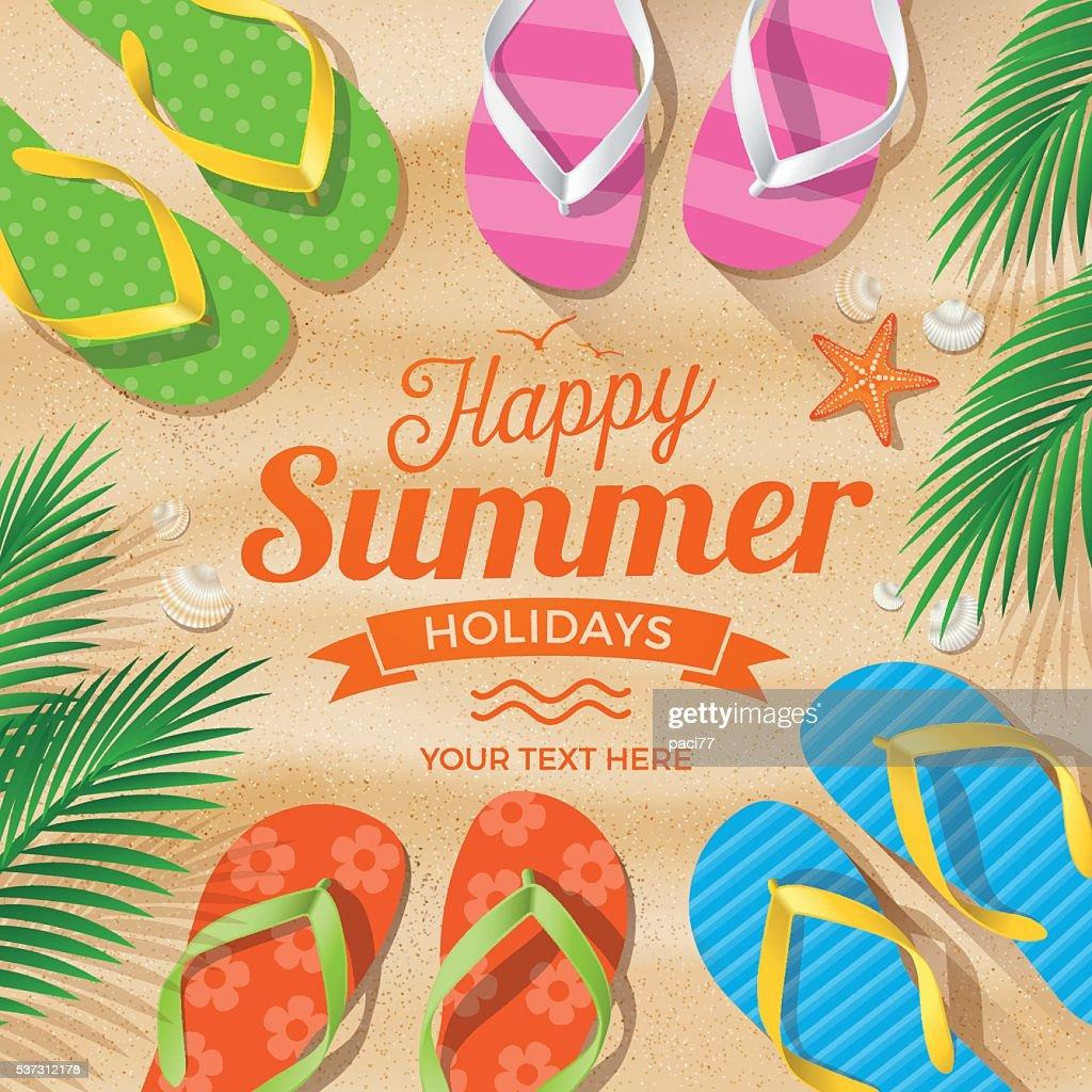 Flip Flops colored on Summer Beach