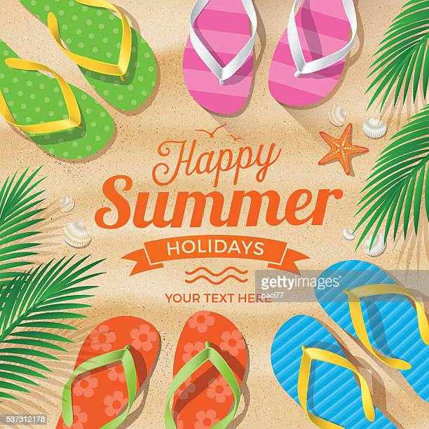 flip flops colored on summer beach - sandal stock illustrations, clip art, cartoons, & icons