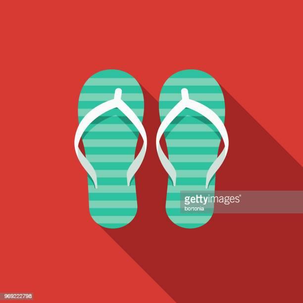 illustrazioni stock, clip art, cartoni animati e icone di tendenza di flip flops flat design summer icon with side shadow - ciabatta infradito