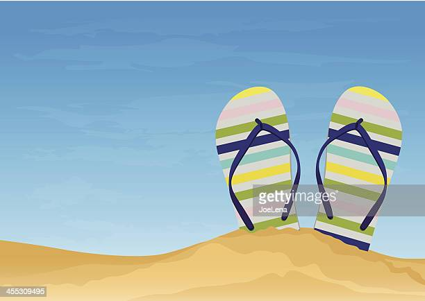 flip flops on the beach - buried stock illustrations, clip art, cartoons, & icons