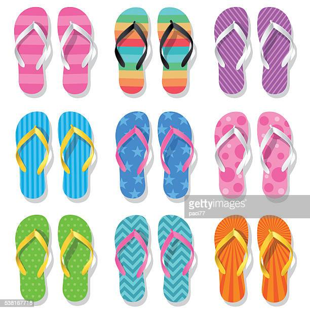 flip flops - open toe stock illustrations