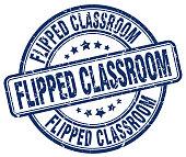 flipped classroom blue grunge stamp