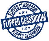 flipped classroom blue round grunge stamp