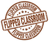 flipped classroom brown grunge stamp