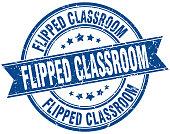 flipped classroom round grunge ribbon stamp