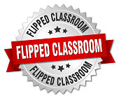 flipped classroom round isolated silver badge