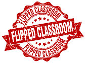 flipped classroom stamp. sign. seal