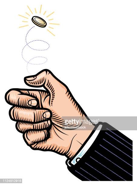 flipping a coin illustration - flipping a coin stock illustrations, clip art, cartoons, & icons