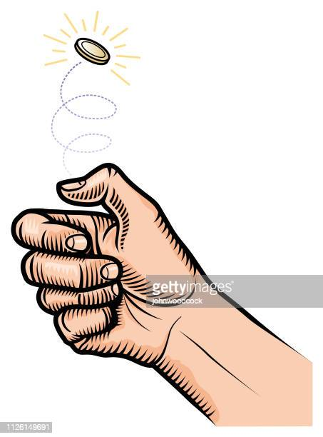 flipping a coin illustration - flipping a coin stock illustrations