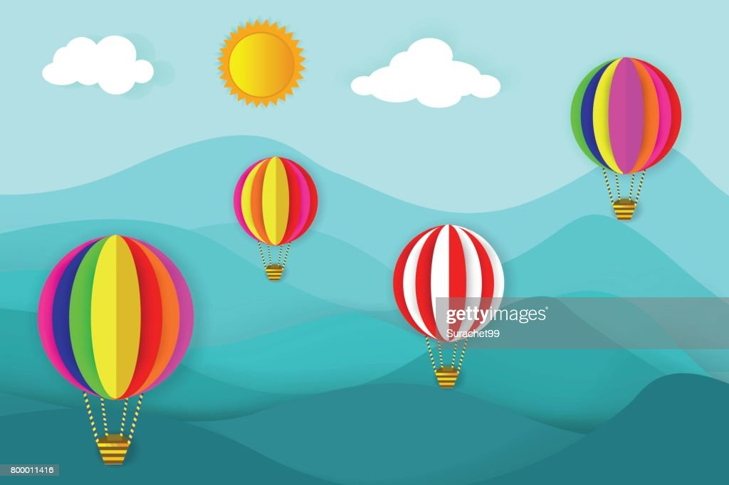Float Balloon Tours, Hot Air Balloon Rides Illustration With Nature Background