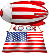 floating balloon with the American flag