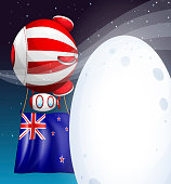 floating balloon with tne New Zealand flag