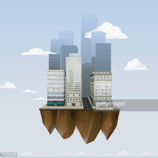 ilustraciones, imágenes clip art, dibujos animados e iconos de stock de ciudad flotante - flotando en el aire
