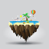 Floating island, beach tourism. Travel and tourism
