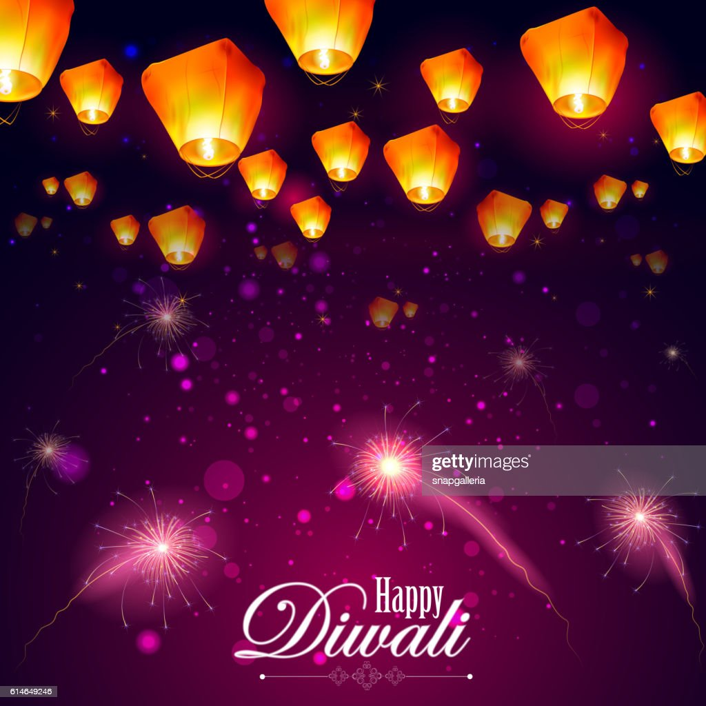 Floating lamp and firework in Diwali holiday night