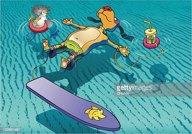 illustrations, cliparts, dessins animés et icônes de vie sur l'eau - chien humour