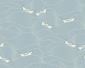 Floating paper boats  (Seamless pattern)