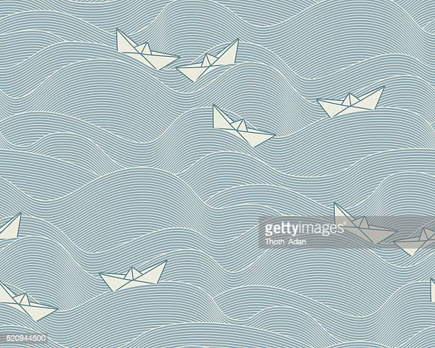 floating paper boats  (seamless pattern) - peace stock illustrations, clip art, cartoons, & icons