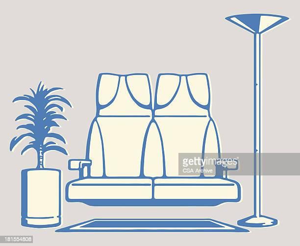 illustrations, cliparts, dessins animés et icônes de siège flottant au-dessus de tapis avec lampadaire et flore - plante verte