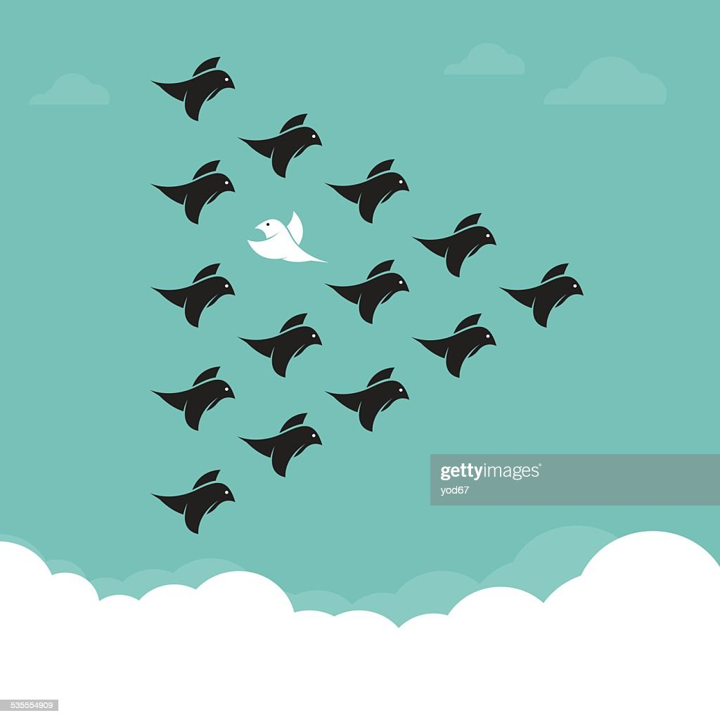 Flock of birds flying in the sky, Different concepts