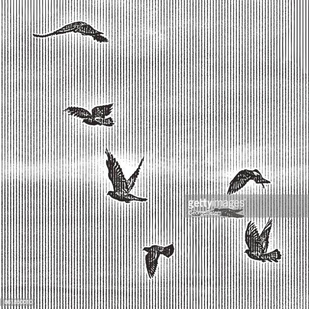 flock of birds flying into sunset sky - pen and ink stock illustrations, clip art, cartoons, & icons