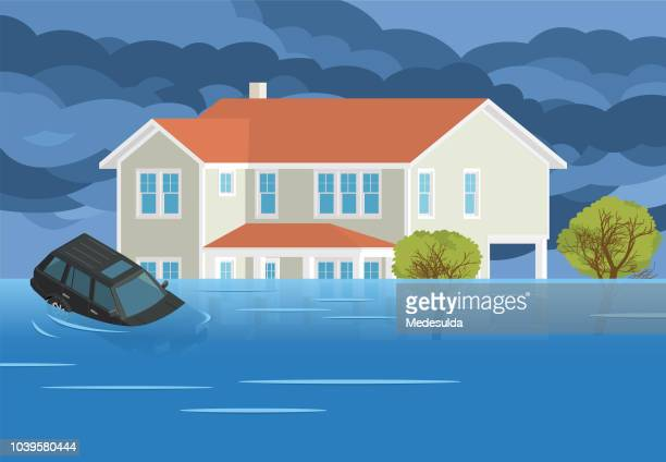 flood house disaster car vector - hurricane stock illustrations, clip art, cartoons, & icons