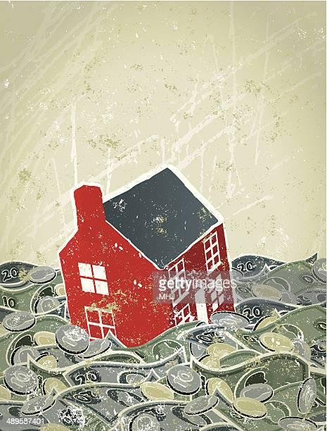 Enchente, casa afundar no mar de Dinheiro