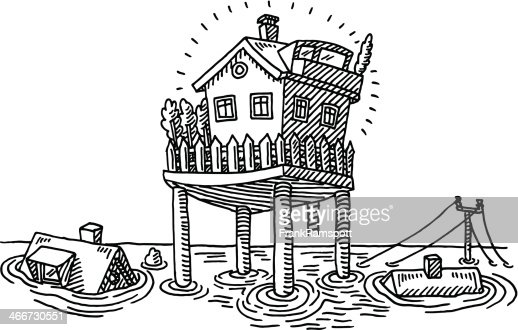 Flood water survival house on piles drawing vector art for Flood coloring pages