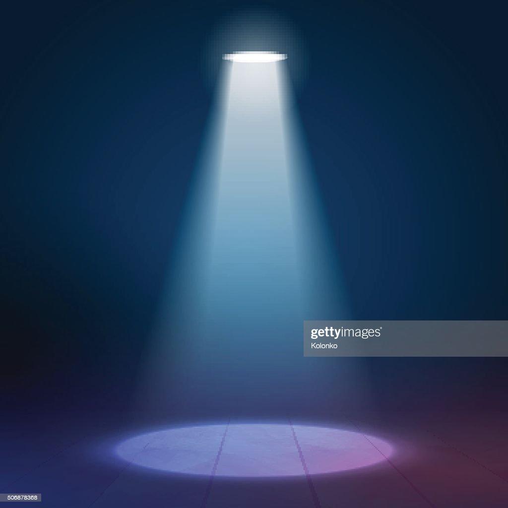 Floodlight spotlight illuminates wooden scene. Vector illustartion