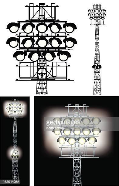 floodlights - stadium lights - floodlit stock illustrations