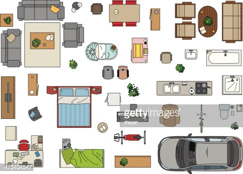 Floor plan furniture vector art getty images for R f bathrooms and kitchens