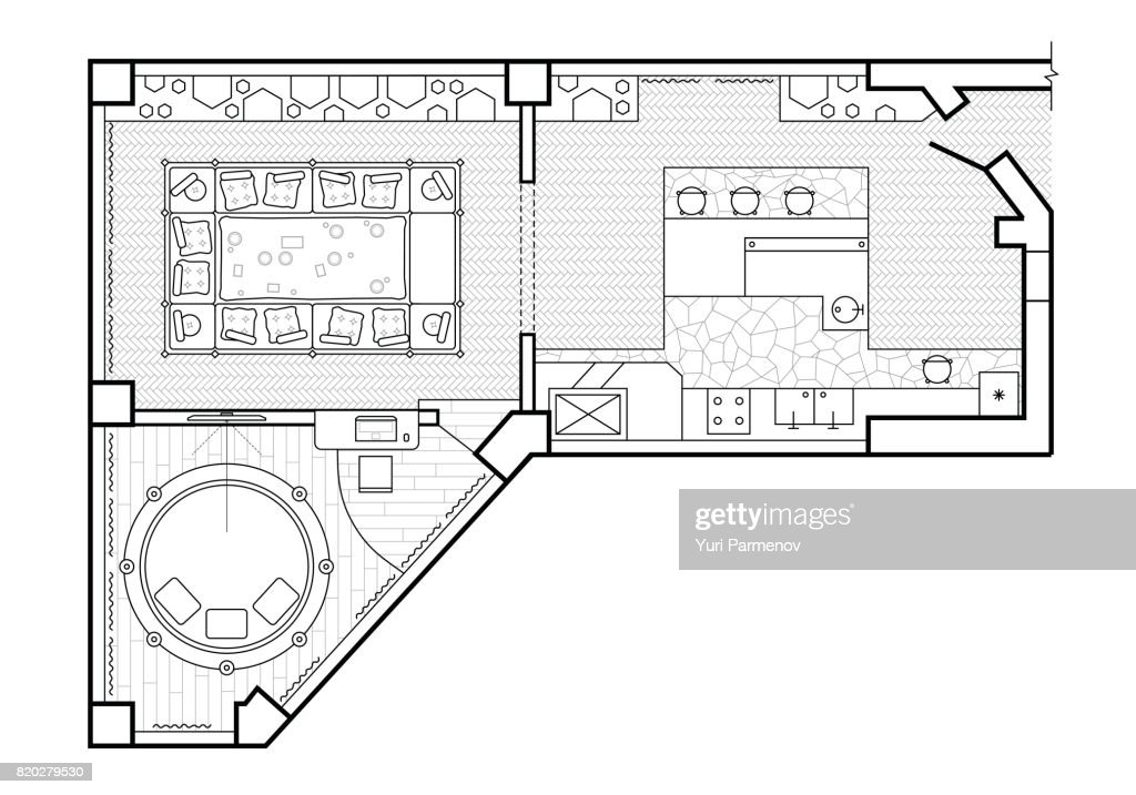 Floor Plan Top View The Interior Design Terrace Cottage Is A Covered