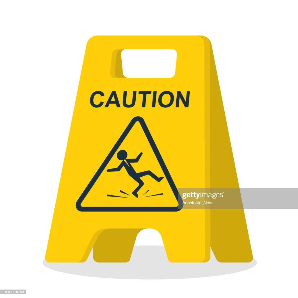 Floor sign of danger. Wet floor sign.