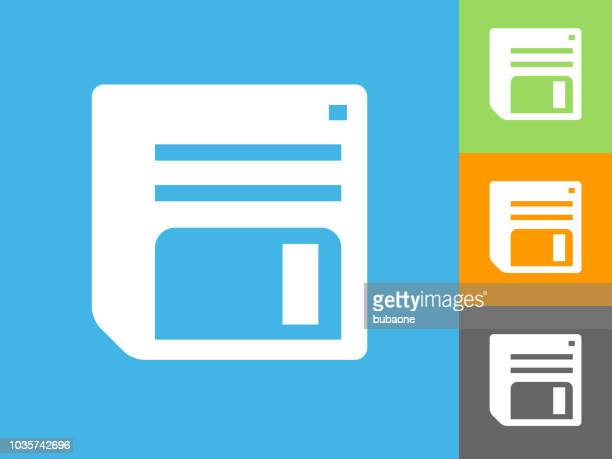 floppy disk flat icon on blue background - floppy disk stock illustrations, clip art, cartoons, & icons
