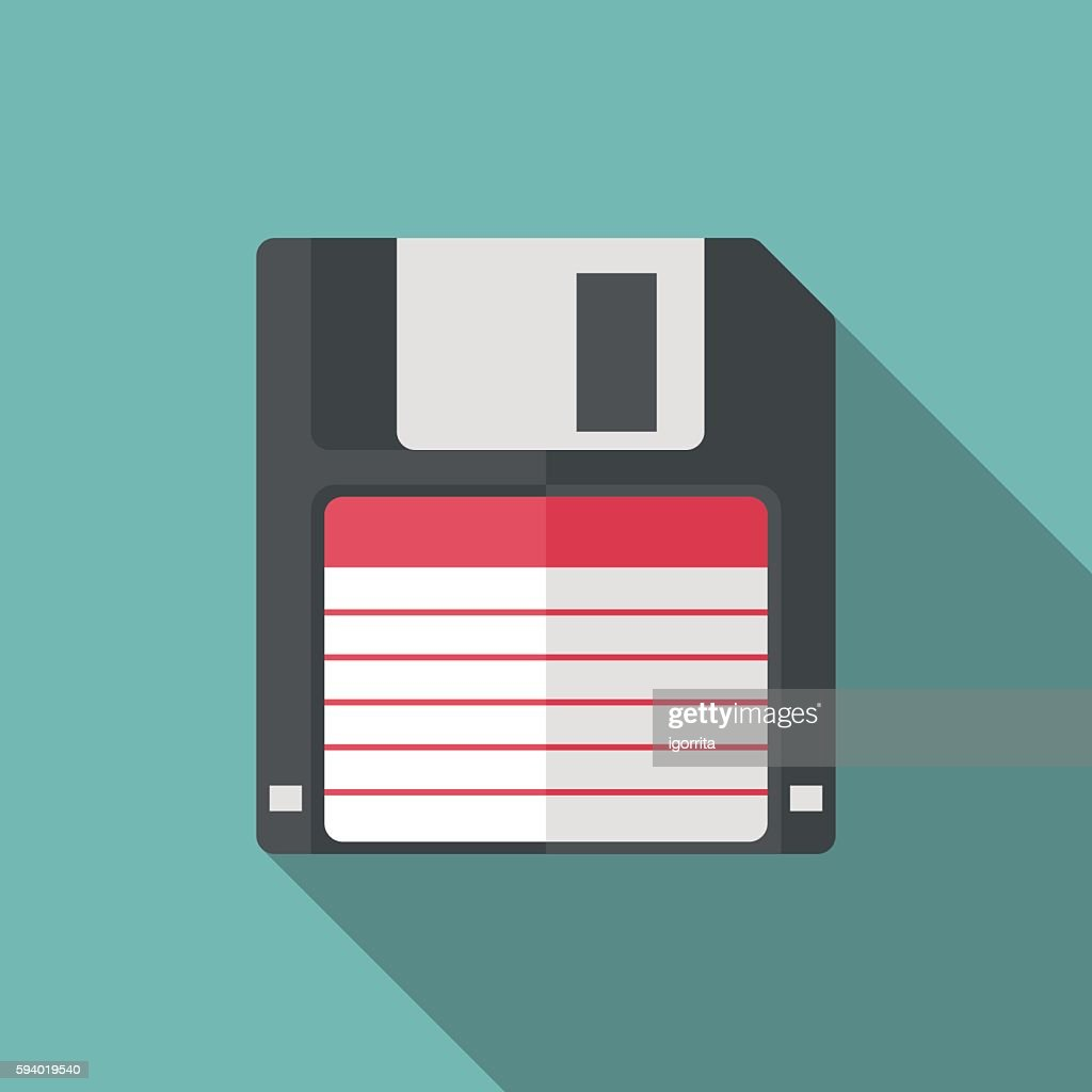 floppy disk icon witn long shadow. flat style illustration