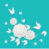Flora origami elements of luxury white flower and tropical butterflies