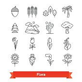 Flora thin line art icons set. Plants life
