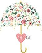Flora Wedding Umbrella Elements- Illustration
