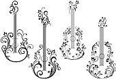 Floral acoustic guitar icons
