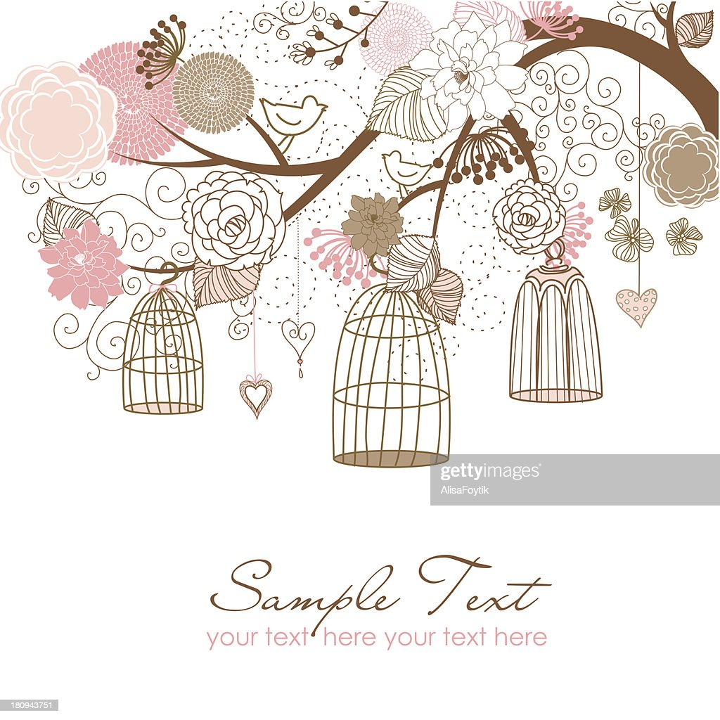 Floral and Birdcage Illustration