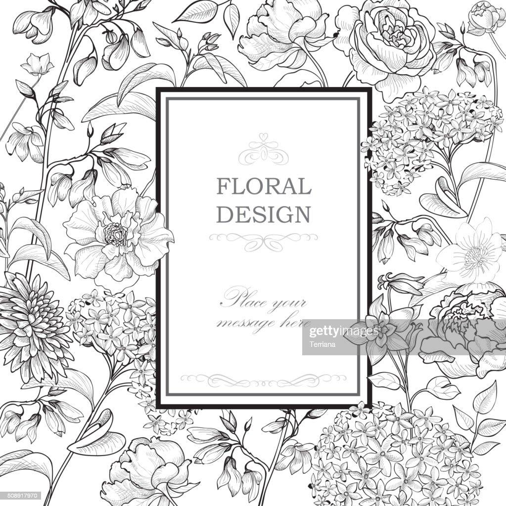 Floral background. Flourish greeting card.