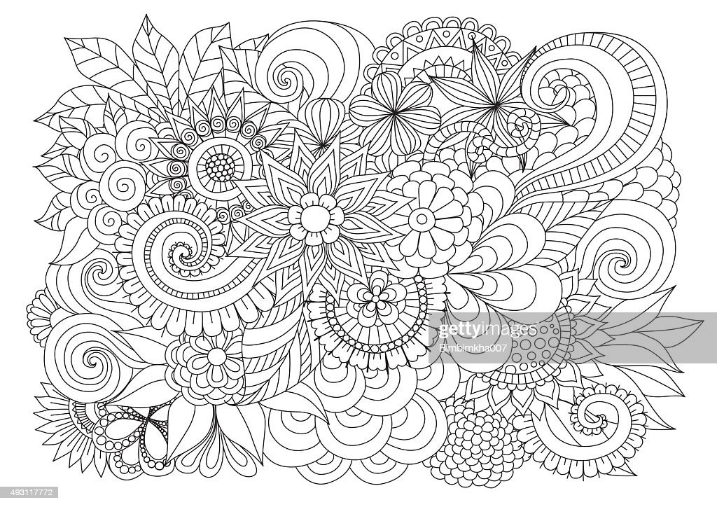 Floral background for coloring page